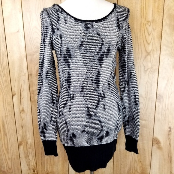 Free People Sweaters - Free People Marl Knit Grey Black Sweater Dress